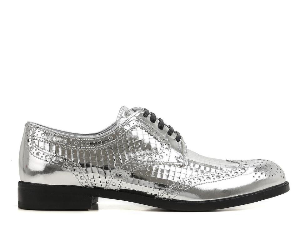 amp;Gabbana Dolce Flats Silver Calf up In Women's Lace Leather rrw8qUdzW
