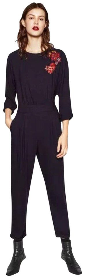 b18d2bd7ea3d Zara Navy Blue Embroidered Romper Jumpsuit - Tradesy
