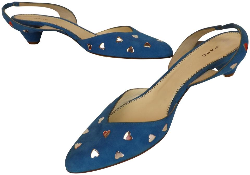 Marc Jacobs Blue / Silver Suede Suede Silver Heart Studs Slingback Sandal Italy Pumps 01c627