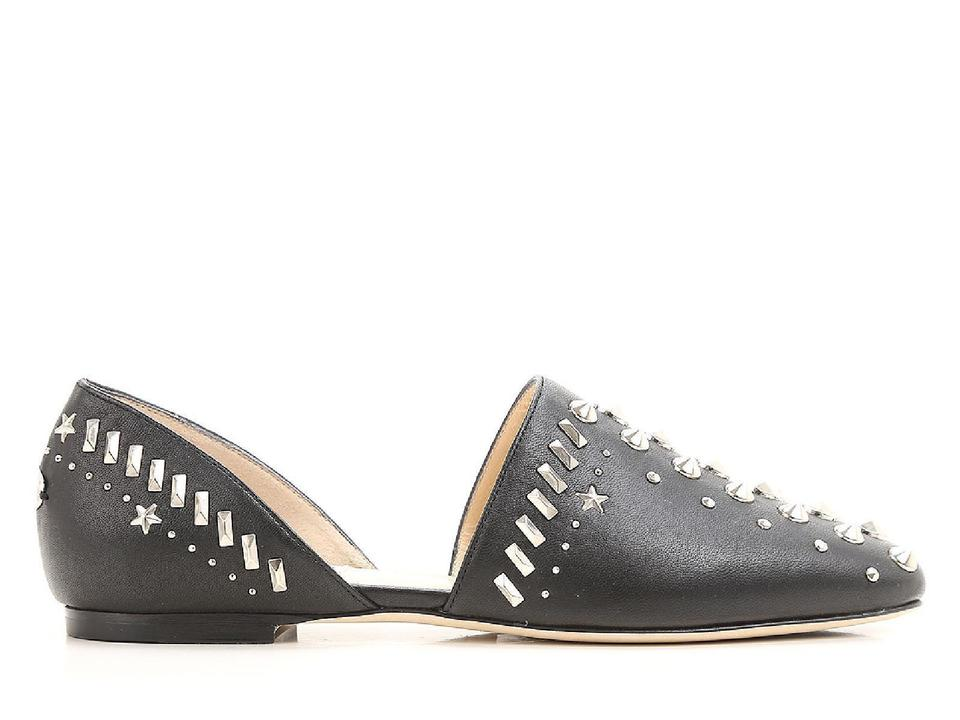 Choo Jimmy Leather Flats Studded D'orsay Black 8TrqTd