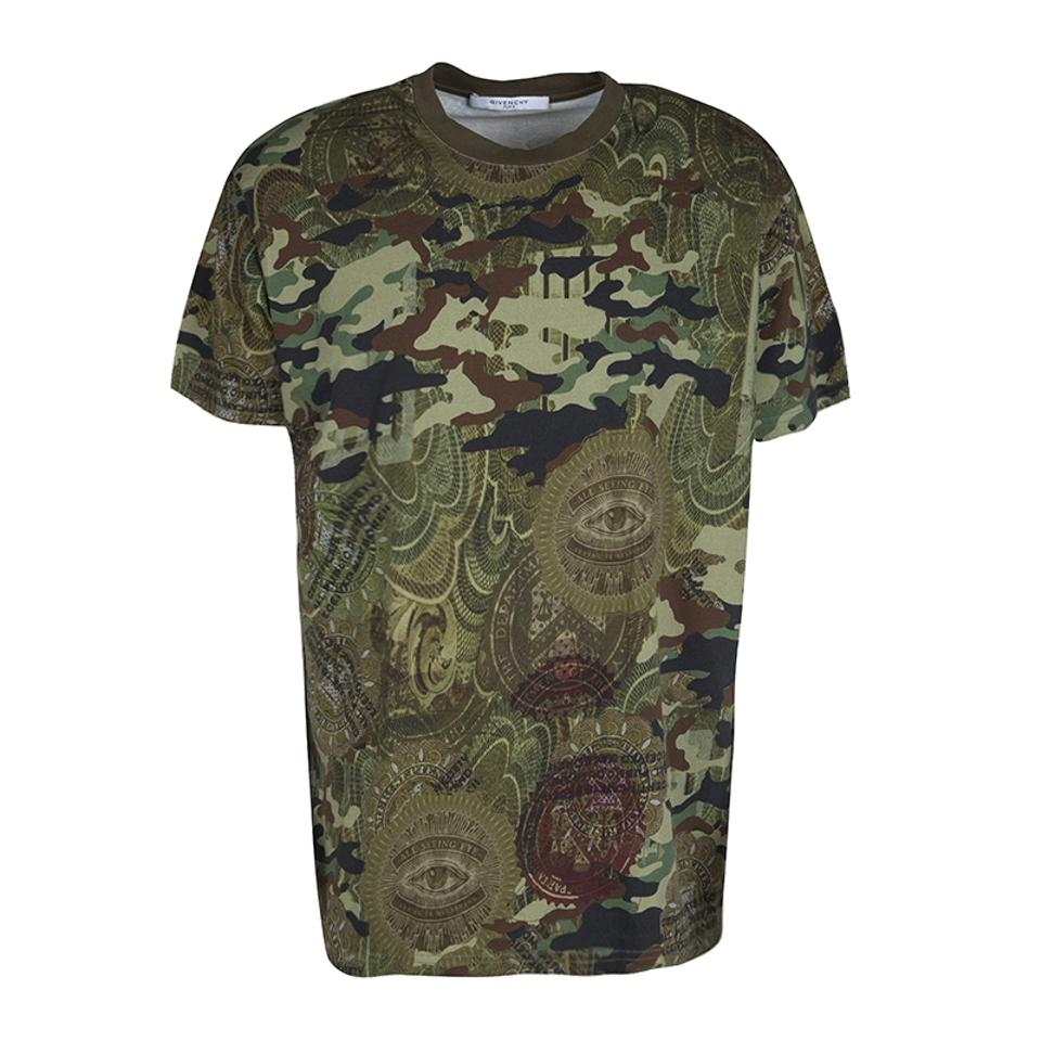 789543164f1f4 Givenchy Green Camouflage Print Crew Neck Columbian Fit Cotton T-shirt M Tee  Shirt