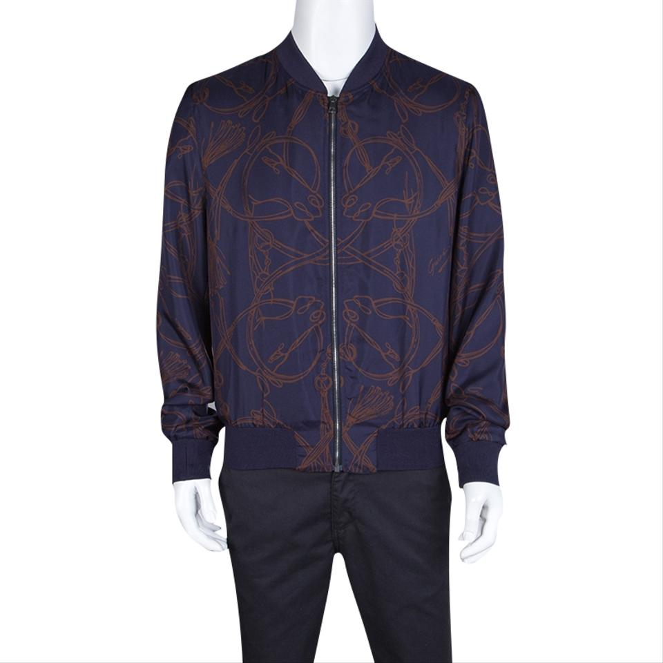 a21747276 Gucci Blue Navy Horse Printed Silk Zip Front Bomber Jacket Size 10 (M) -  Tradesy