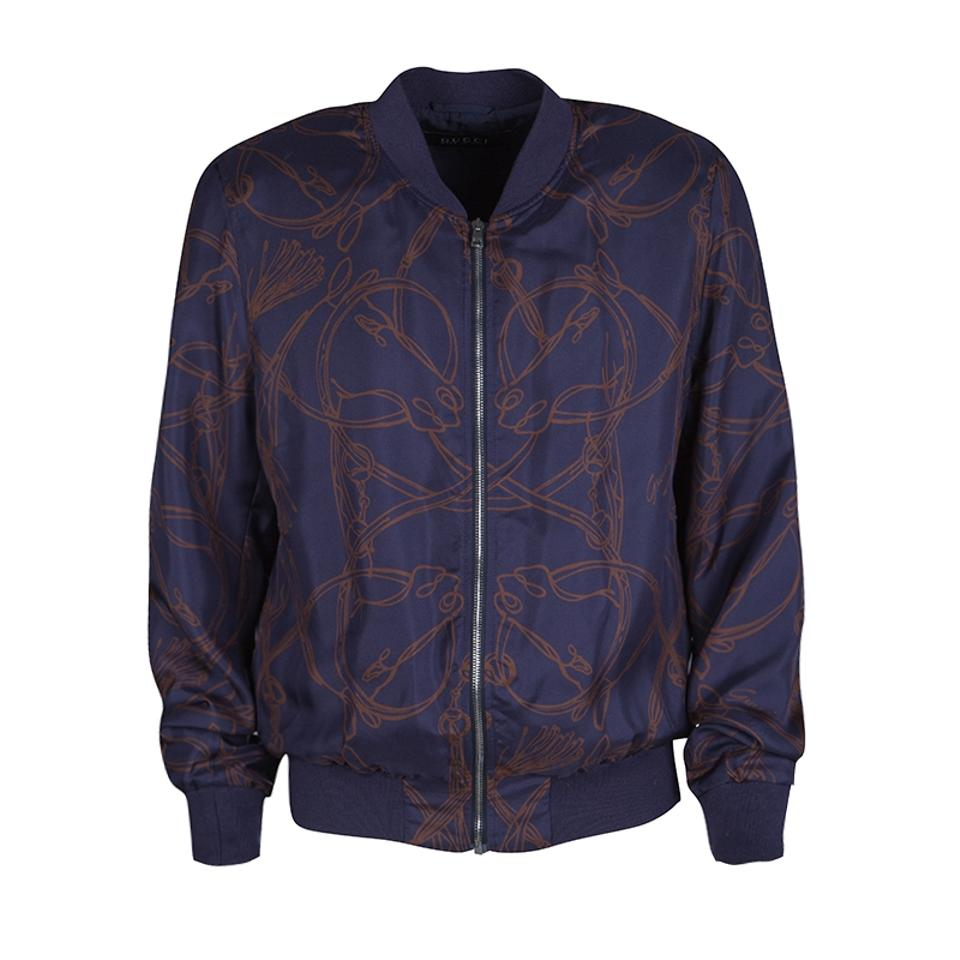 ce7be5b82 Gucci Blue Navy Horse Printed Silk Zip Front Bomber Jacket Size 10 ...