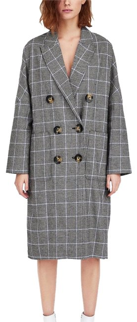 Item - Gray Blue Check Double Breasted Coat Size 8 (M)