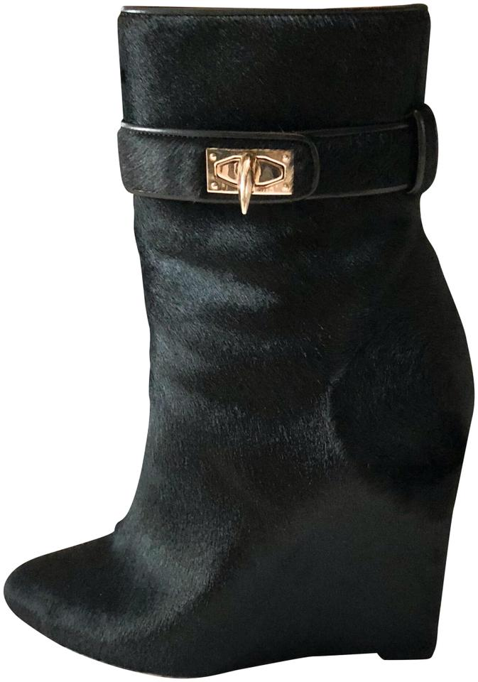 a3aae02d41 Givenchy Black Shark Tooth Ponyhair Wedge Ankle Boots Booties Size ...