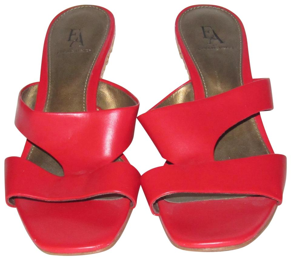 b83d1ab7559a5 Etienne Aigner Red Leather with Woven Wicker Wedge Heels Shoes ...