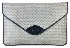 Gucci Work Business Meeting Travel Logo Blue Clutch