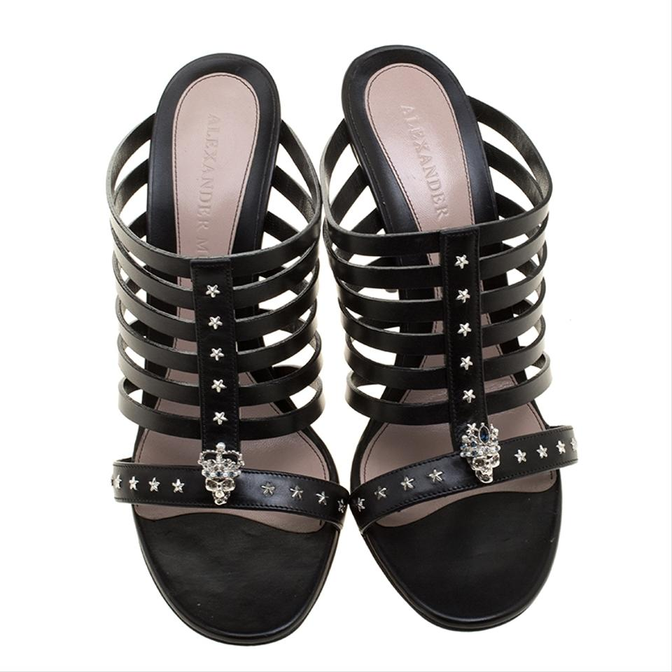 Alexander Studded McQueen Toe Mu Peep Skull Strappy Leather star Black Slides Mules rrwq71