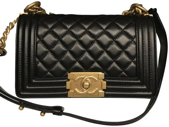Preload https://item3.tradesy.com/images/chanel-boy-quilted-calfskin-small-flap-blackgold-lambskin-leather-shoulder-bag-23917067-0-1.jpg?width=440&height=440