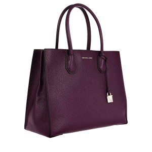 MICHAEL Michael Kors Mercer Convertible Pebbled Leather Tote in Damson