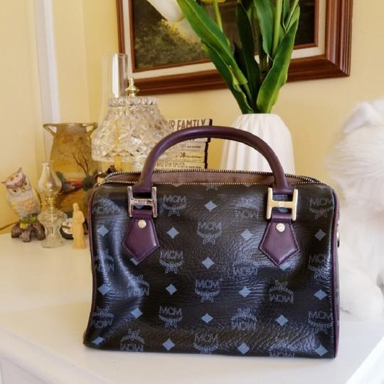 MCM Satchel in Black/Purple