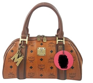 MCM Alma Speedy Boston Duffle Tote in Brown
