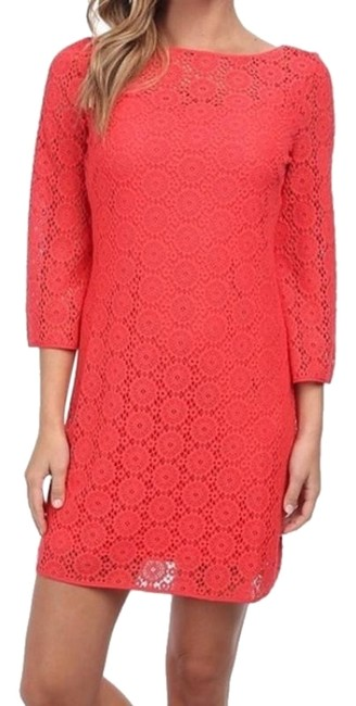 Preload https://item1.tradesy.com/images/lilly-pulitzer-coral-topanga-mid-length-short-casual-dress-size-12-l-23917120-0-1.jpg?width=400&height=650