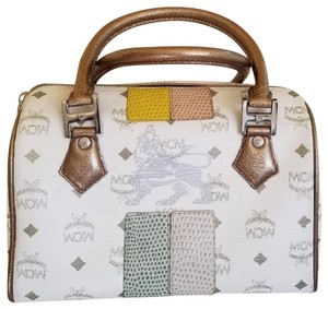 MCM Satchel in White/Metallic Brown