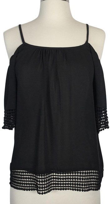 Parker Cold Shoulder Embroidered Open Shoulder Top black
