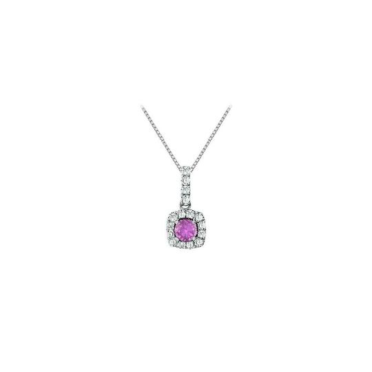 DesignerByVeronica Fancy Square Amethyst and Cubic Zirconia Halo Pendant in Sterling Silv
