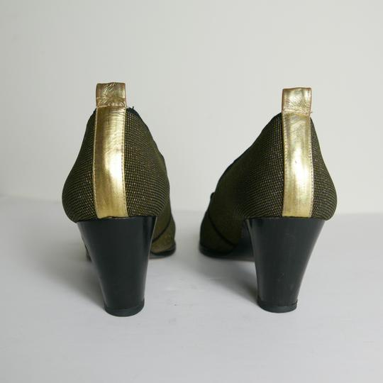 Donald J. Pliner Black Gold Heel Shiny Pumps