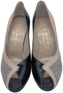 Bruno Magli Vintage Retro Patent Leather Leather Peep Toe Black, Taupe Pumps