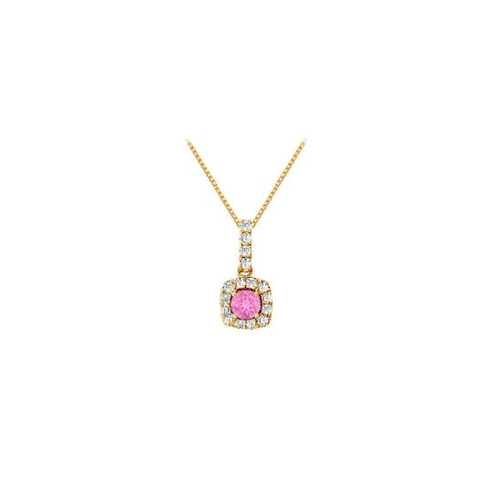 Preload https://item4.tradesy.com/images/pink-fancy-square-created-sapphire-and-cubic-zirconia-halo-pendant-i-necklace-23917208-0-0.jpg?width=440&height=440