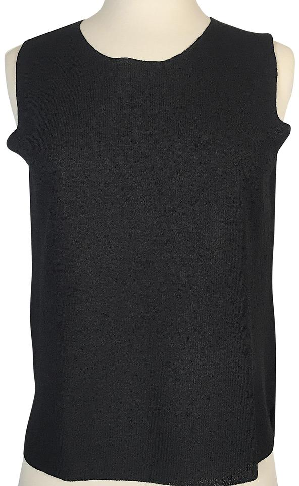 3252b04c4d05b9 Eileen Fisher Black Sleeveless Knitted Tank Top Cami Size Petite 4 ...