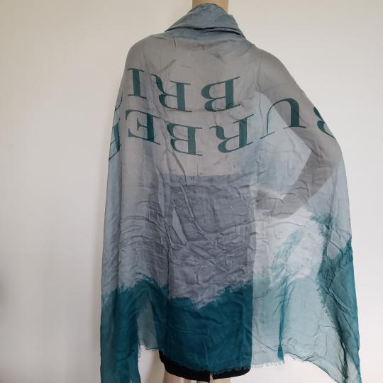 Burberry Teal grey Burberry Britt logo printed oversized silk-blend shawl