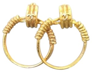 Chanel Chanel Hoop Earrings Coil Spring Barbwire CCAV323