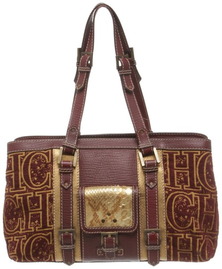 Preload https://img-static.tradesy.com/item/23917303/carolina-herrera-484975-burgundy-and-gold-canvas-leather-shoulder-bag-0-1-540-540.jpg