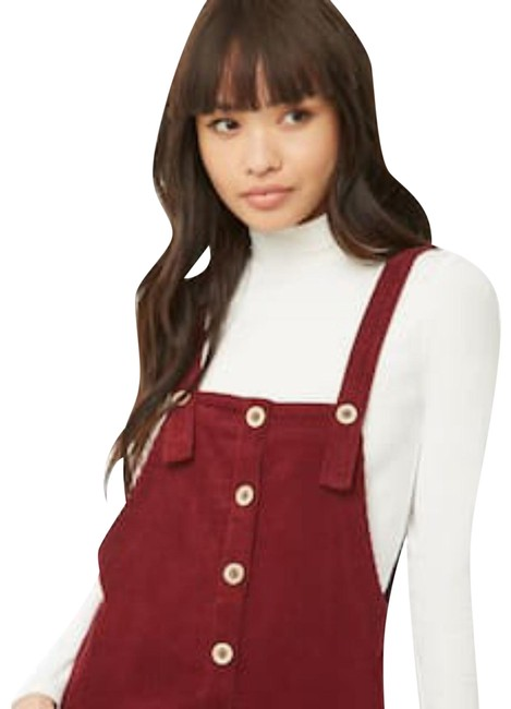 Preload https://item1.tradesy.com/images/forever-21-burgundy-corduroy-overall-mini-short-casual-dress-size-8-m-23917305-0-1.jpg?width=400&height=650