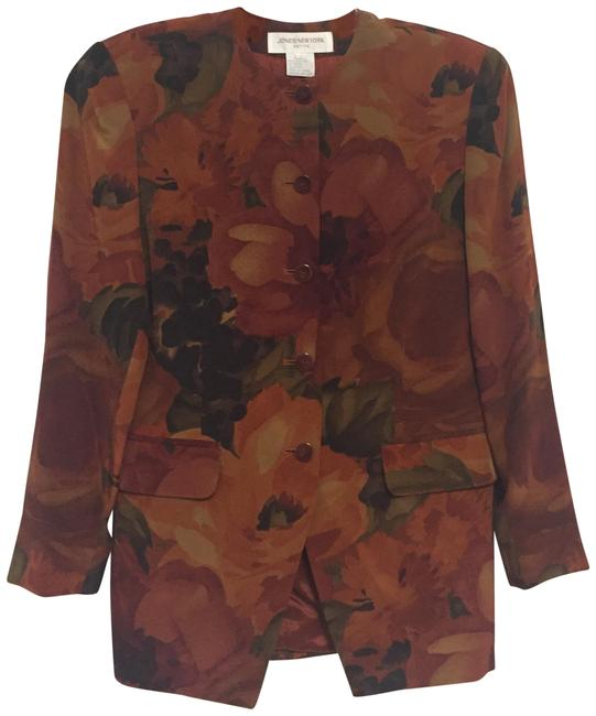 Jones New York Silk Floral Orange Blazer