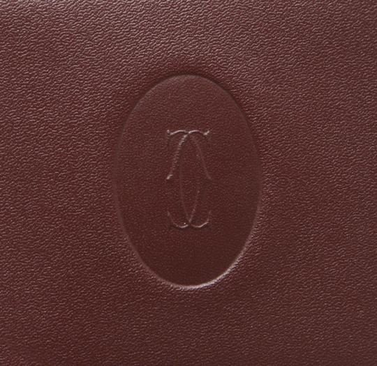 Cartier Cartier Burgundy Leather Compact Mirror Card Holder 211028