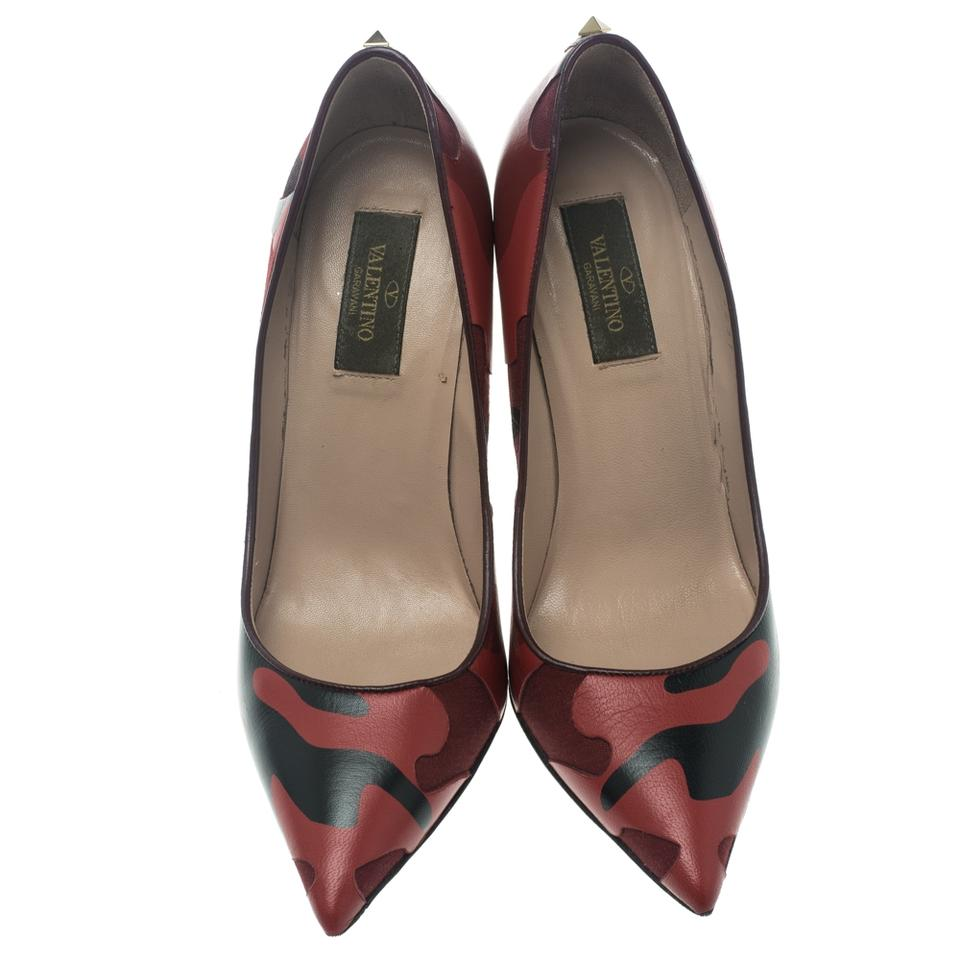 Canvas Pointed and Leather Valentino Red Pumps Camouflage Two Tone 0pHYq