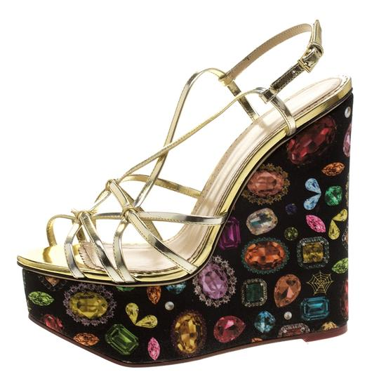 Charlotte Olympia Leather Print Wedge Metallic Sandals