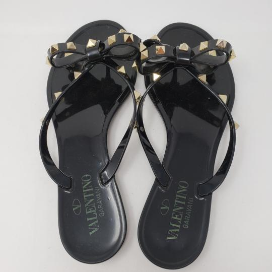 Valentino Rockstud Hardware Jelly Bow Studded Black, gold Sandals