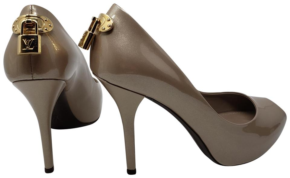 6bec3f734c Louis Vuitton Beige Nude Patent Leather Oh Really Peep-toe Pumps ...