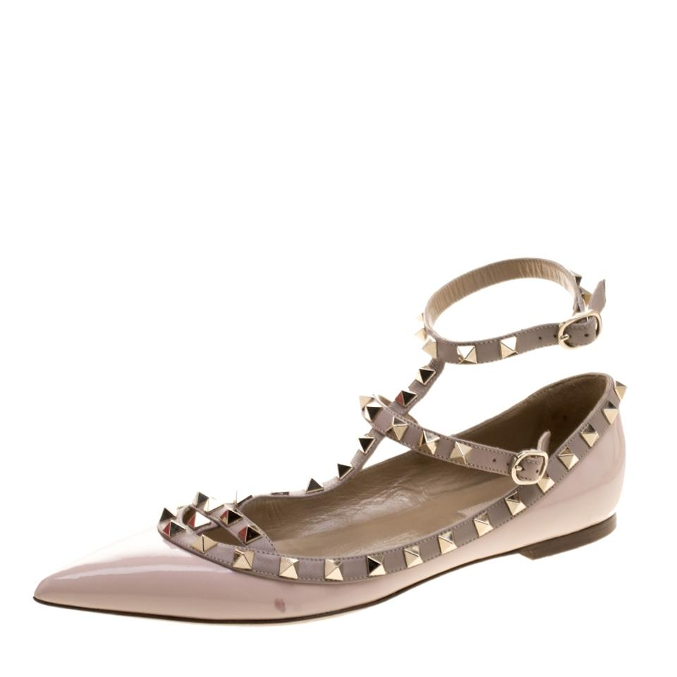 3b94c90256ac Valentino Pink Blush Patent Leather T Strap Rockstud Pointed Toe Balle Flats