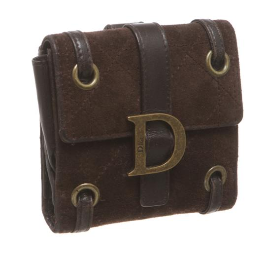 Dior Christian Dior Brown Suede Cannage Bi-Fold Wallet 483733
