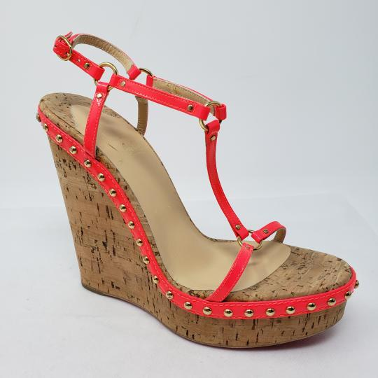 Christian Louboutin Gold Hardware Studded Ankle Strap Platform Cataclou Pink, Beige Wedges