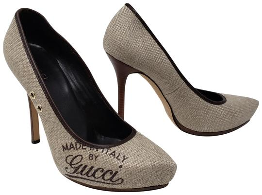 Preload https://item2.tradesy.com/images/gucci-brown-beige-canvas-logo-pointed-toe-pumps-size-eu-395-approx-us-95-regular-m-b-23917541-0-2.jpg?width=440&height=440