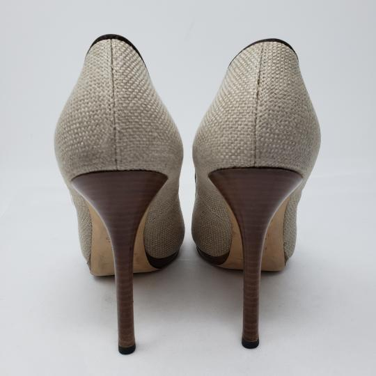 Gucci Logo Guccissima Gg Pointed Toe Embroidered Brown, Beige Pumps
