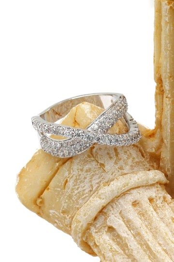 Ocean Fashion Fashion silver intersect crystal ring