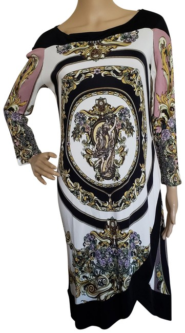 Preload https://img-static.tradesy.com/item/23917575/versace-black-white-multicolor-collection-printed-midi-mid-length-cocktail-dress-size-8-m-0-2-650-650.jpg