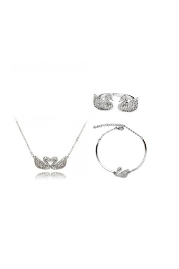 Preload https://img-static.tradesy.com/item/23917605/silver-double-swan-crystal-trio-set-necklace-0-0-540-540.jpg