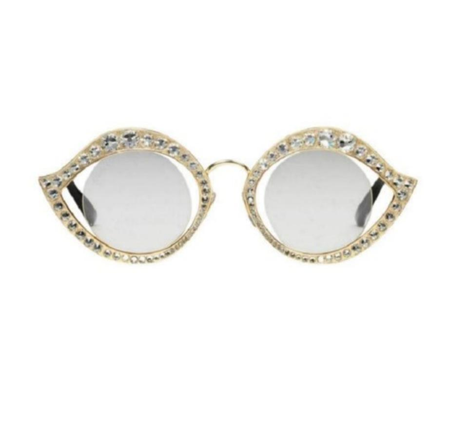 0a5a2b20fff Gucci Silver Cat Eye Metal Glasses with Crystals Sunglasses - Tradesy