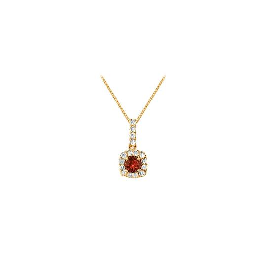 Preload https://img-static.tradesy.com/item/23917611/red-fancy-square-garnet-and-cubic-zirconia-halo-pendant-in-14k-yellow-gold-necklace-0-0-540-540.jpg