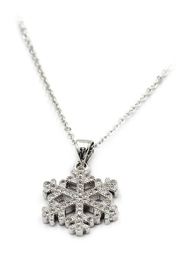 Ocean Fashion Inlaid small crystal snowflake necklace