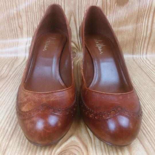 Cole Haan Distressed Leather Brogue Wingtip Brown Pumps