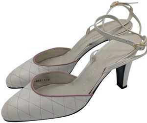 Charles Jourdan Vintage Retro Quilted Leather Ankle Strap White Pumps