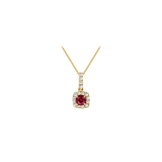 Preload https://img-static.tradesy.com/item/23917623/red-fancy-square-ruby-and-cubic-zirconia-halo-pendant-in-yellow-gold-verme-necklace-0-0-540-540.jpg