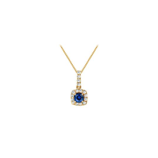 Preload https://img-static.tradesy.com/item/23917635/blue-fancy-square-sapphire-and-cubic-zirconia-halo-pendant-in-14k-yellow-go-necklace-0-0-540-540.jpg