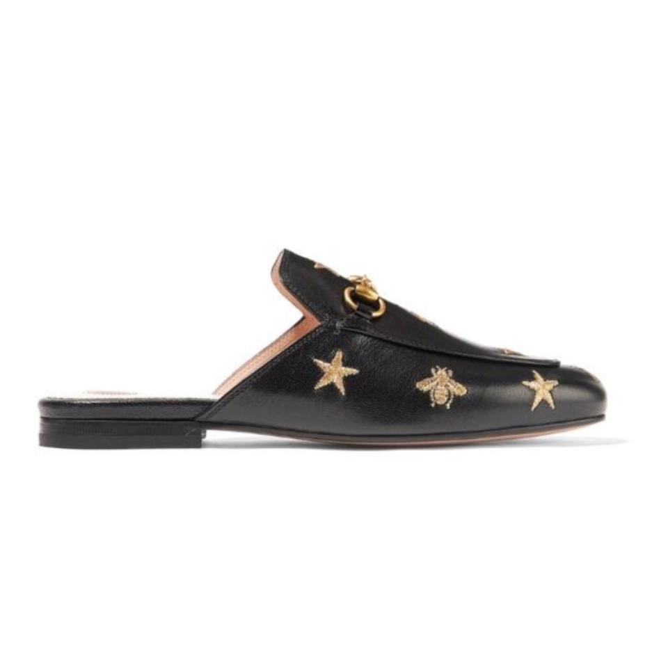 5bbc506d60c Gucci Princetown Star Bee Embroidered Leather Slipper Mules Flats ...